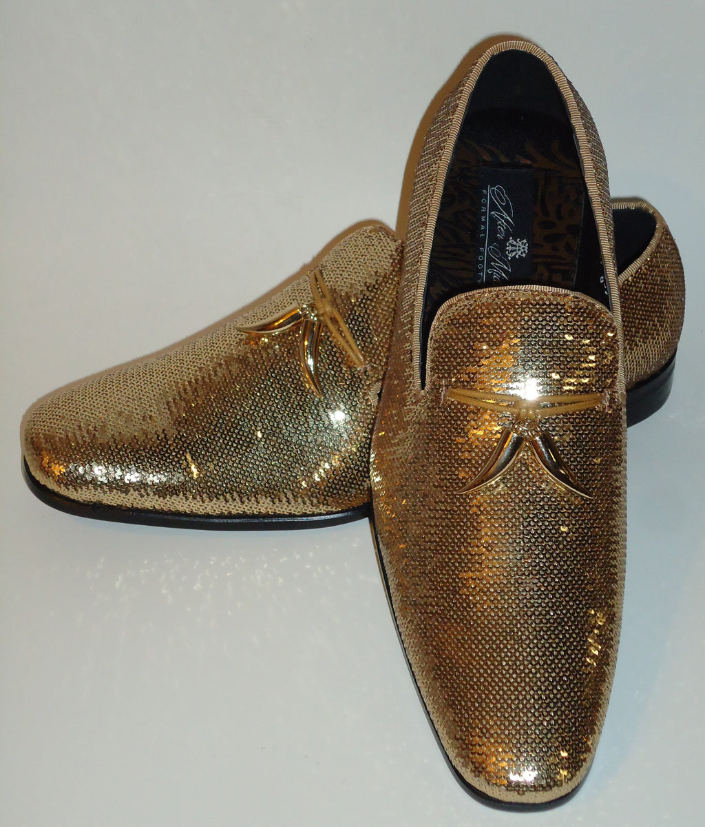 Mens Amazing Shiny Sparkly Gold Sequin Dress Shoes After Midnight 6759 S