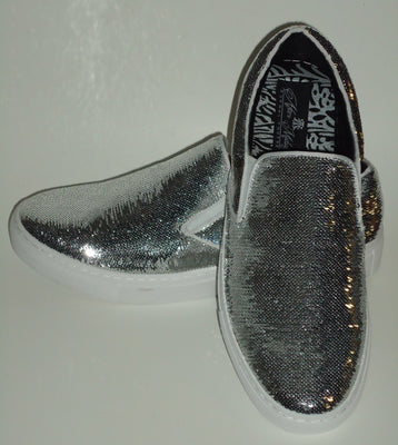 Mens Shiny Sparkly Silver Sequin Sneakers Casual Sole After Midnight 6758