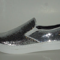 Mens Shiny Sparkly Silver Sequin Sneakers Casual Sole After Midnight 6758 S