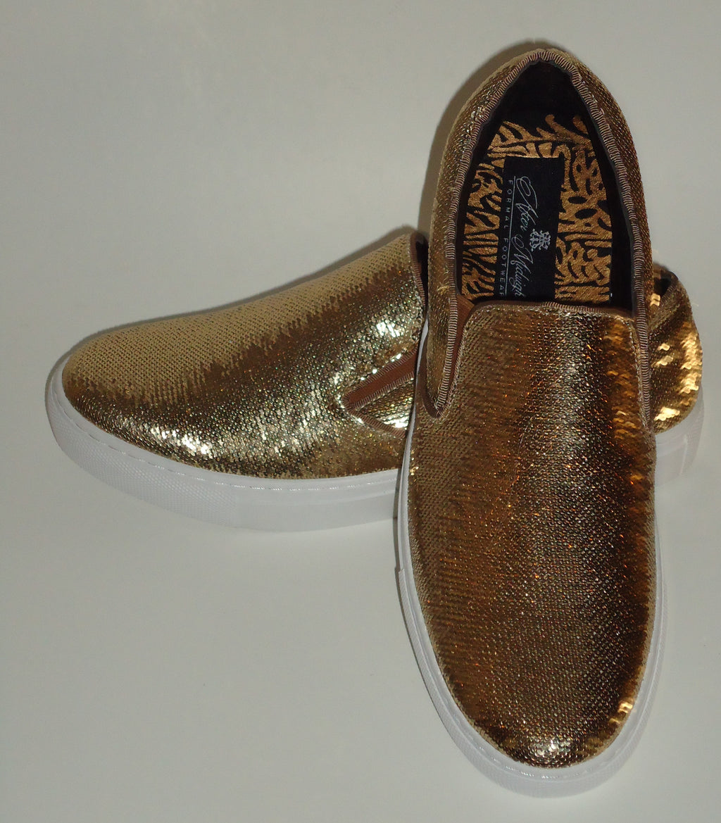 Mens Shiny Sparkly Gold Sequin Sneakers Casual Sole After Midnight 6758