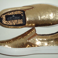 Mens Shiny Sparkly Gold Sequin Sneakers Casual Sole After Midnight 6758 S