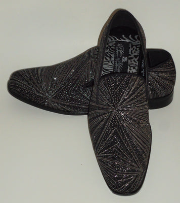 Mens Glitzy Black Shiny Silver Glitter Dress Shoes Slip Ons After Midnight 8018 S