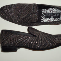 Mens Glitzy Black Shiny Silver Glitter Dress Shoes Slip Ons After Midnight 8018