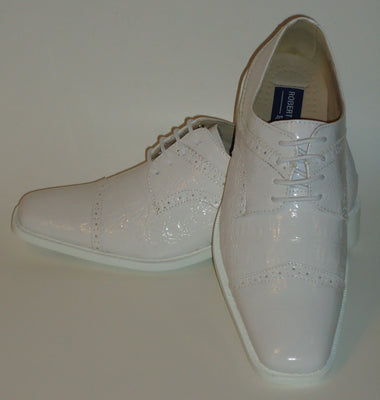 Mens Shiny All White Croco-Look Dress Shoes White Sole Roberto Chillini 6744