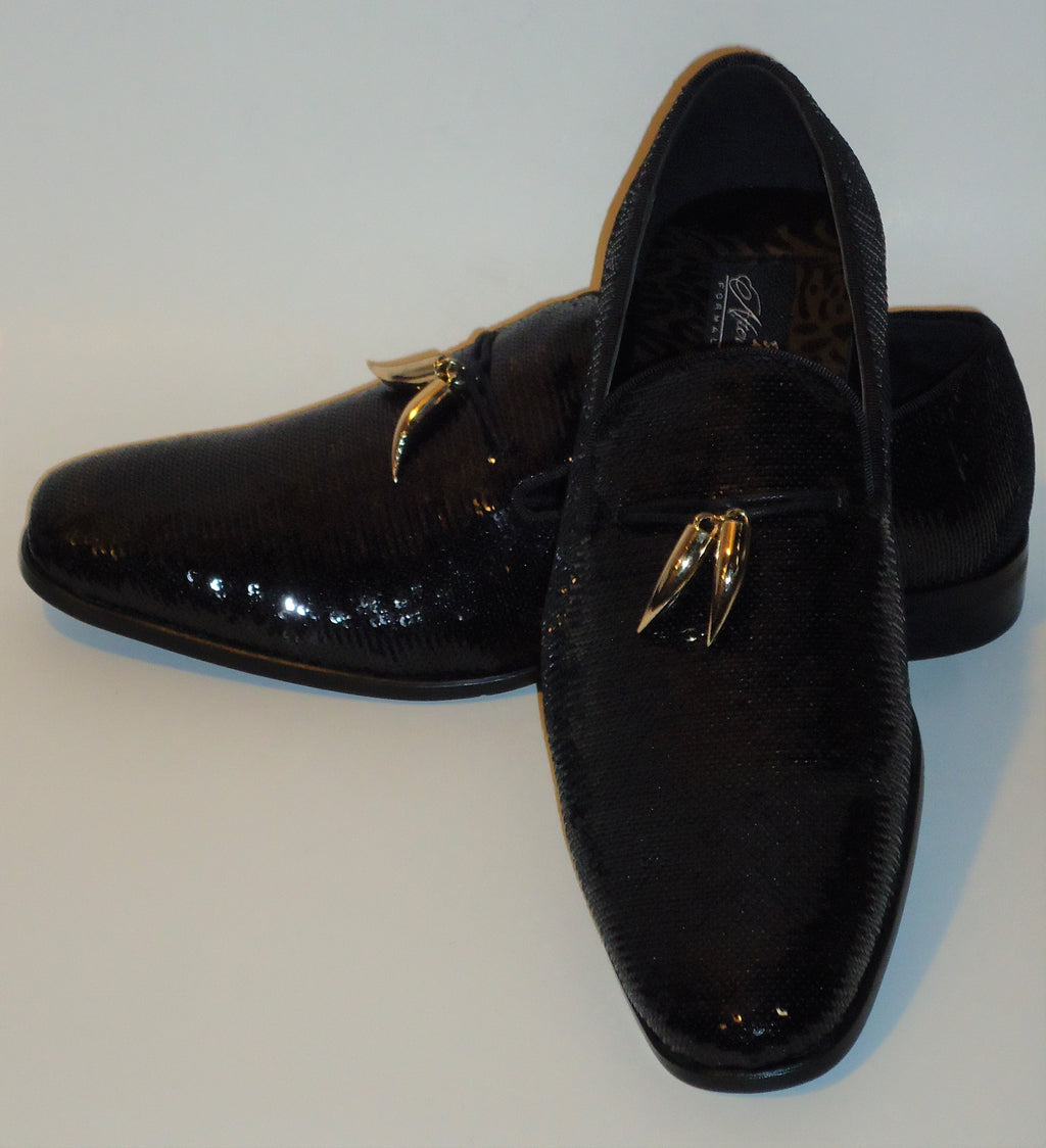 Mens Amazing Shiny Sparkly Black Sequin Dress Shoes After Midnight 6759