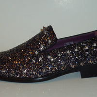 Mens Black Glitter Silver Stud Formal Slip On Dress Loafers After Midnight 6769