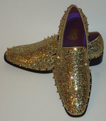 Mens Gold Glitter Stud Smoker Slip On Dress Loafers After Midnight 6769