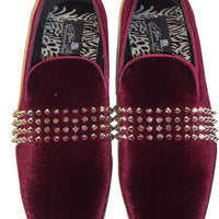Mens Gorgeous Burgundy Velvet Silver Spikes Dress Loafers After Midnight 6787 S
