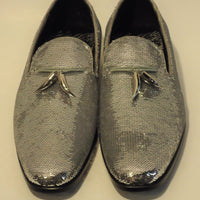 Mens Shiny Sparkling Metallic Silver Sequin Dress Shoes After Midnight 6759