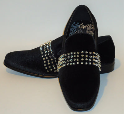 Mens Black Velvet Silver Spiky Studs Slip On Dress Loafers After Midnight 6787