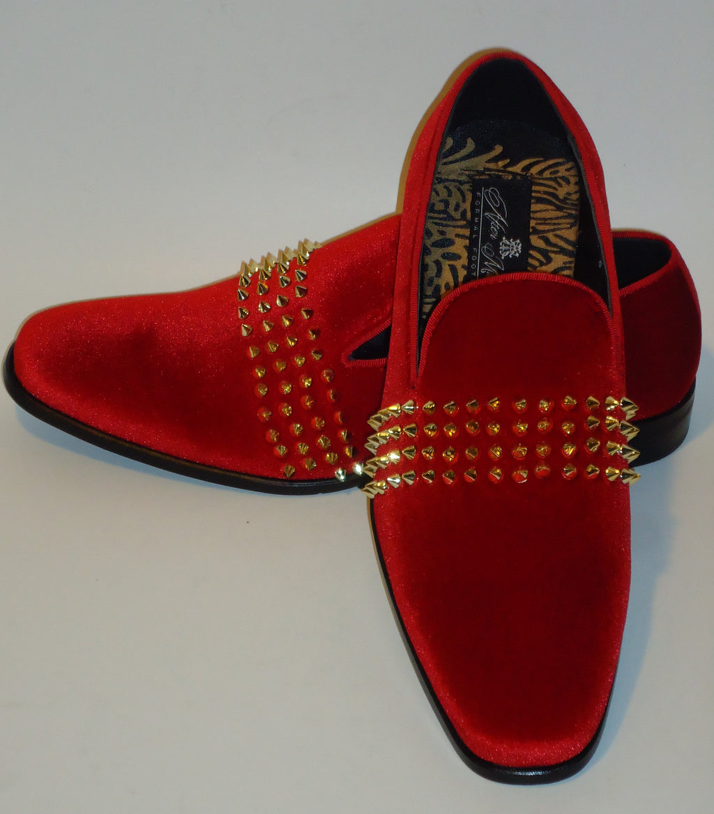 Mens Hot Red Velvet Gold Spiky Studs Slip On Dress Loafers After Midnight 6787 S