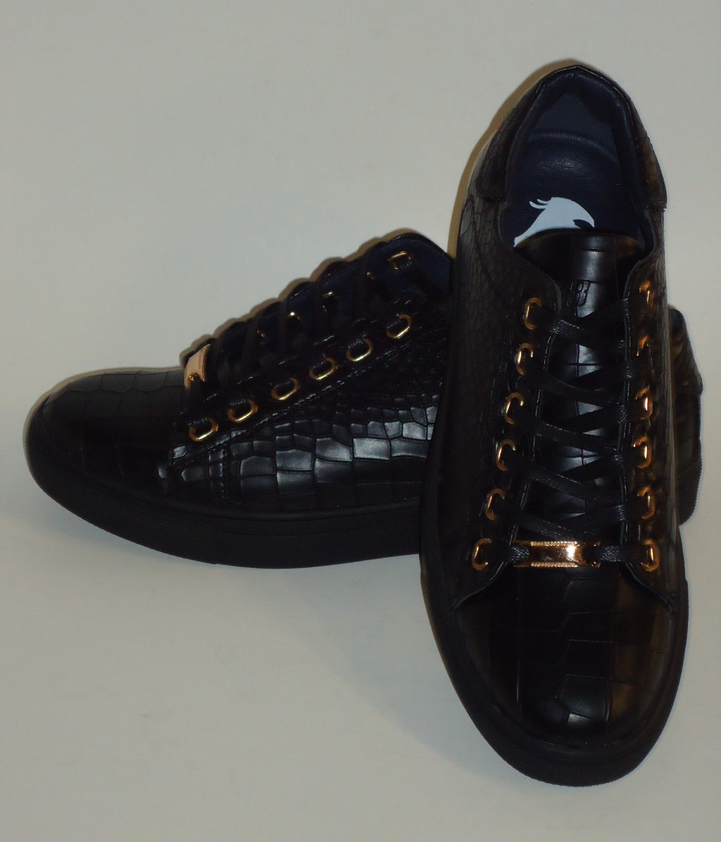 Mens Cool Black Croco Embossed Dress Sneakers Rubber Sole NY718 6730