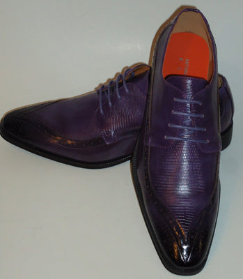 Mens Rich Purple Wingtip Oxford Classy Dress Shoes Antonio Cerrelli 6808