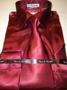Mens Karl Knox Shiny Burgundy Silky Satin Formal Dress Shirt Tie & Hanky