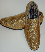 Mens Gold Glitter Pop Formal Slip On Dress Loafers Shoes After Midnight 6683 S