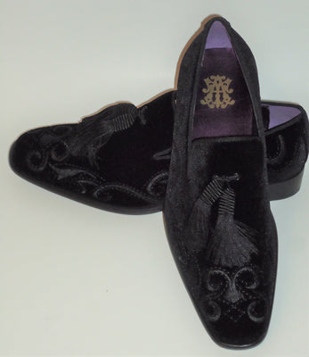 Mens Rich Black Velvet Embroidered Dress Loafers Shoes After Midnight 6846 S