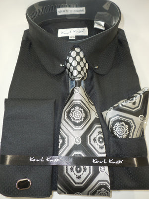 Mens Black Round Club Collar Bar French Cuff Dress Shirt + Tie Karl Knox 4389