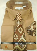 Mens Cocoa Brown Round Club Collar Bar French Cuff Dress Shirt + Tie Karl Knox 4389 S