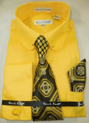 Mens Yellow Gold Round Club Collar Bar French Cuff Dress Shirt + Tie Karl Knox 4389 S