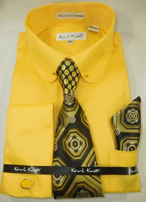 Mens Yellow Gold Round Club Collar Bar French Cuff Dress Shirt + Tie Karl Knox 4389