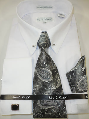 Mens White Lovely Black Paisley Tie Eyelet Collar Bar Dress Shirt Karl Knox 4396