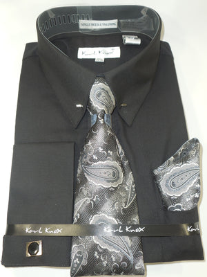 Mens Black Black Paisley Tie Classy Eyelet Collar Bar Dress Shirt Karl Knox 4396