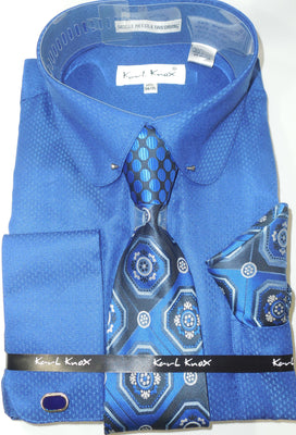 Mens Royal Blue Round Club Collar Bar French Cuff Dress Shirt + Tie Karl Knox 4389
