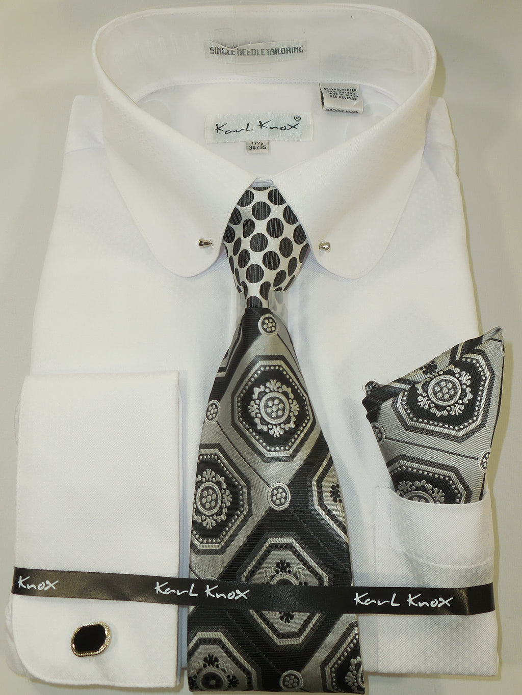 Mens Textured White Club Collar Bar French Cuff Dress Shirt + Tie Karl Knox 4389
