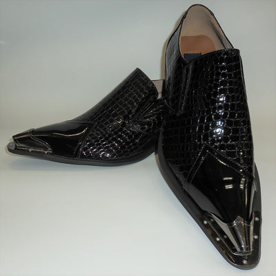 Mens Black Gloss Exotic Embossed Pewter Tip Pointed Loafers Shoes Majestic 15815