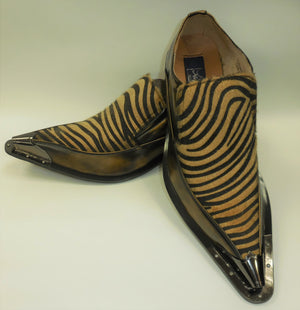 Mens Brown Bronze Zebra Print Silver Cap Pointed Loafers Shoes Majestic 15818