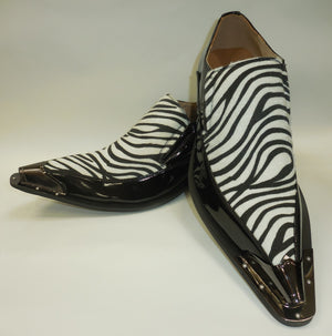 Mens Amazing Black White Zebra Print Silver Cap Pointed Loafers Shoes Majestic 15818
