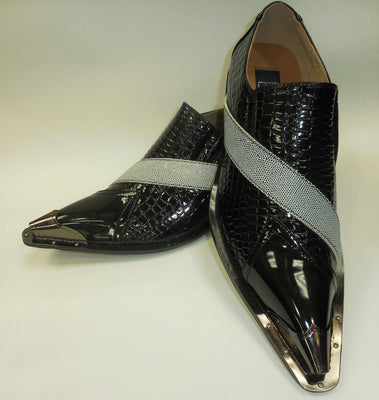 Mens Black White Exotic Embossed Silver Tip Pointed Loafers Shoes Majestic 15811