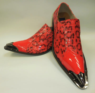 Mens Hot Red Black Exotic Embossed Pewter Tip Pointed Loafers Shoes Majestic 15815