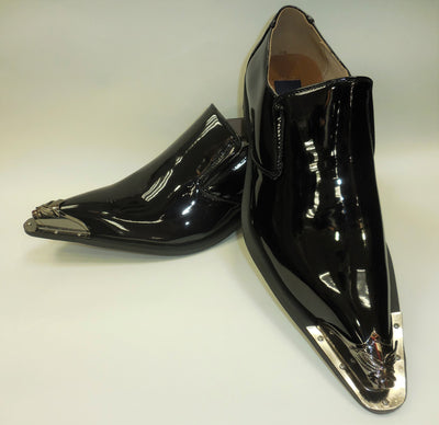 Mens Glossy Black Silver Pewter Tip Pointed Loafers Shoes Majestic 15819