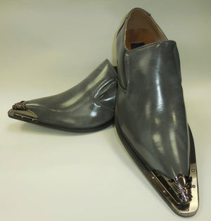 Mens Brushed Smoke Gray Pewter Capped Pointed Loafers Shoes Majestic 15819