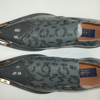 Mens Gray Exotic Embossed Pewter Tip Pointed Loafers Shoes Majestic 15815