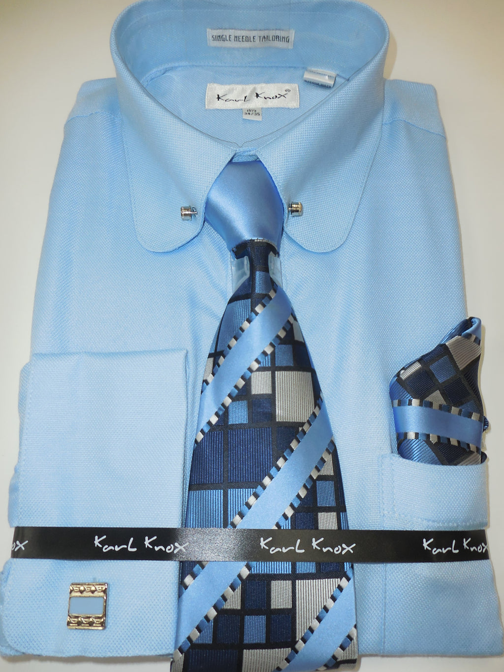 Mens Baby Blue Round Club Collar Bar Cuffed Dress Shirt + Tie Set Karl Knox 4393 S