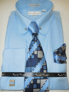 Mens Baby Blue Round Club Collar Bar Cuffed Dress Shirt + Tie Set Karl Knox 4393