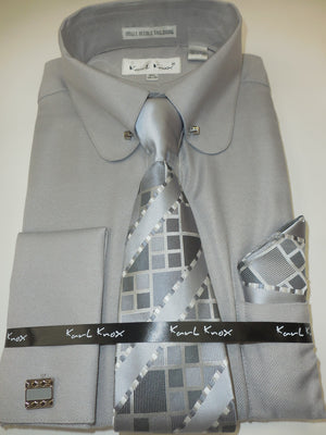 Mens Elegant Silver Gray Round Pin Collar French Cuff Dress Shirt Set Karl Knox 4393