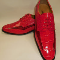 Mens Red Modern Silhouette Croco Embossed Dress Shoes Liberty LS1107