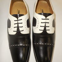 Mens Black White Detail Old School Oxford Fashion Dress Shoes Liberty LS1000