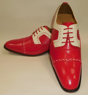 Mens Red White Detail Old School Oxford Fashion Dress Shoes Liberty LS1000