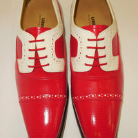 Mens Red White Detail Old School Oxford Fashion Dress Shoes Liberty LS1000 S