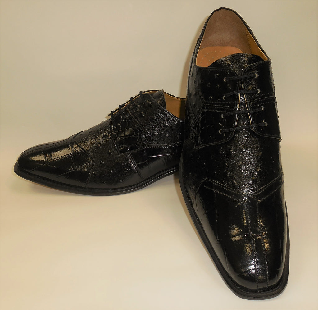 Mens Elegant Black Croco-Look Dress Oxford Shoes Liberty LS1105 S