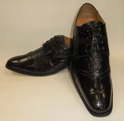 Mens Elegant Black Croco-Look Dress Oxford Shoes Liberty LS1105