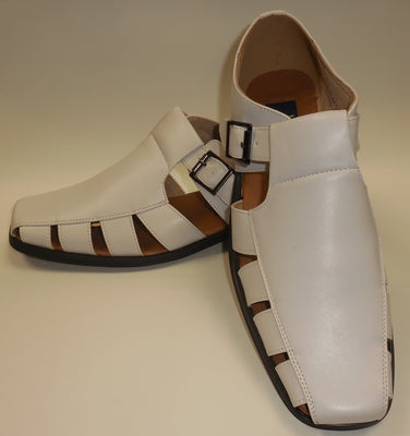Mens Summer White Dress Sandals with Cut Outs Shoes Majestic S 33289