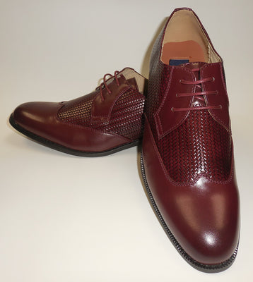 Mens Elegant Burgundy Woven Look Wing Tip Dress Shoes Majestic S 95815