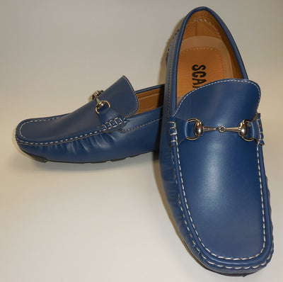 Mens Smooth Royal Blue Soft Sole Summer Loafers Shoes SCANS S 25266