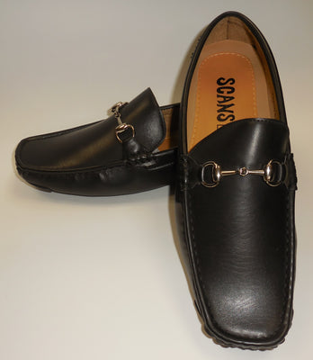 Mens Smooth Black Soft Sole Drivers Loafers Shoes SCANS S 25266