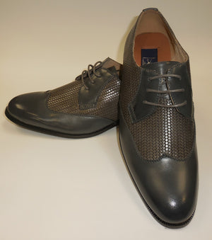 Mens Elegant Gray Woven Look Wing Tip Dress Shoes Majestic S 95815